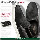 送料無料 BOEMOS ボエモス ハラコ スリッポン ネロ ブラック(CAVALLINO I4-8511 NERO) レディース(女性用) 天然皮革 本革 カジュアル スニーカー シューズ