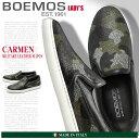 送料無料 BOEMOS ボエモス レザー スリッポン ミリターレ(CARMEN I4-8511 MILITARE) レディース(女性用) 天然皮革 本革 カモフラージュ カモ 迷彩 カジュアル スニーカー シューズ