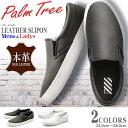 パームツリー レザー スリッポン スニーカー ローカット ホワイト ブラック 全2色(PALM TREE PT-160)メンズ (男性用) 兼 レディース (女性用) 天然皮革 本革 カジュアル シューズ 靴 スリップオン 白 黒