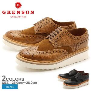 送料無料 グレンソン GRENSON アーチー ウィングチップ ブラック タン 全2色 GRENSON 5067-42645V 5067-42357V ARCHIE V メンズ(男性用) 短靴 コンビ ウイングチップ レザーシューズ 20P30May15