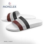 送料無料 MONCLER モンクレール サンダル BASILE ホワイト1013800 07852 431レザー シャワーサンダル スポーツサンダル シューズ 靴 ホワイト トリコロール イタリア メンズ(男性用)
