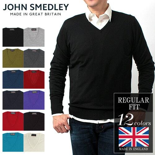送料無料 ジョンスメドレー (JOHN SMEDLEY) ボビー プルオーバー Vネック セーター 全12色 無地 セ...