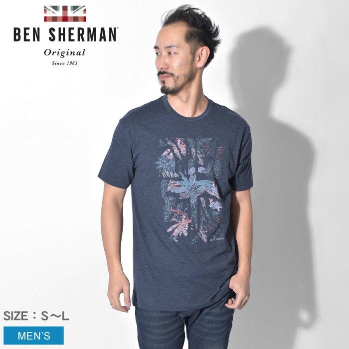 【メール便可】 BEN SHERMAN ベンシャーマン Tシャツ 半袖 ネイビー トロピカル ユニオンジャック グラフィック TROPICAL UNION JACK GRAPHIC TEE MB19S53774 MDN メンズ ブランド イギリス トラッド トップス ユニオンジャック柄