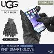 送料無料 アグ オーストラリア 海外 正規品 メンズ レザー&ニット スマート グローブ ブラック(UGG AUSTRALIA LTHR KNIT SMART GLOVE 1015547 200)メンズ(男性用) スマホ対応 手袋