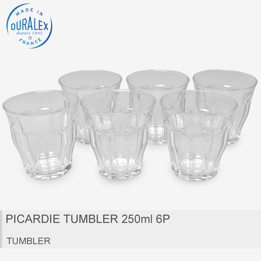 グラス・タンブラー, タンブラー DURALEX 250ml 6 PICARDIE TUMBLER 250ml 6P1027AB06