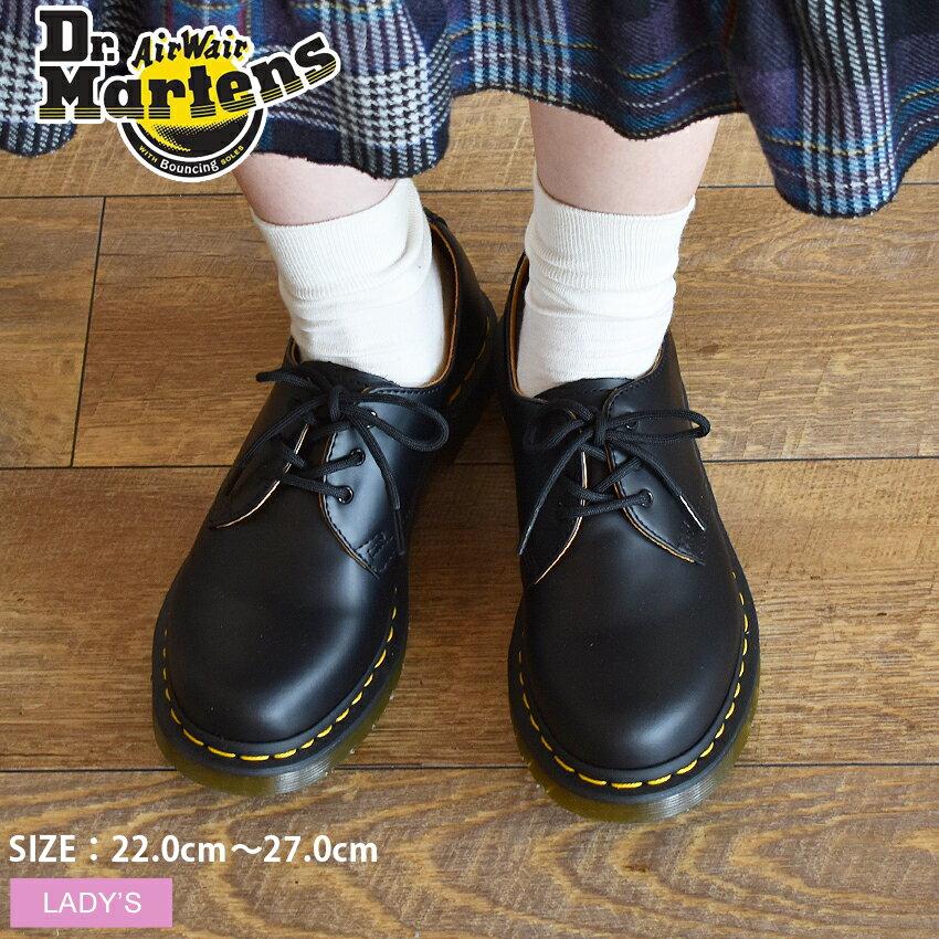 【今だけクーポン配布中】ドクターマーチン 1461W 3ホール ギブソン ブラック Dr.Martens 1461W 3EYE GIBSON BLACK 黒 スムース レザー ワーク シューズ 靴 レディース 女性 誕生日プレゼント 結婚祝い ギフト おしゃれ画像