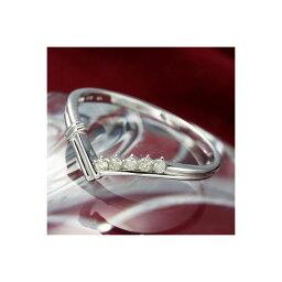 K14ダイヤリング 指輪 Vデザインリング 15号