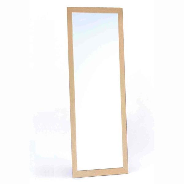 飛び散らないウォールミラー/全身姿見鏡 【壁掛け用】 木製フレーム 飛散防止加工 日本製 ナチュラル