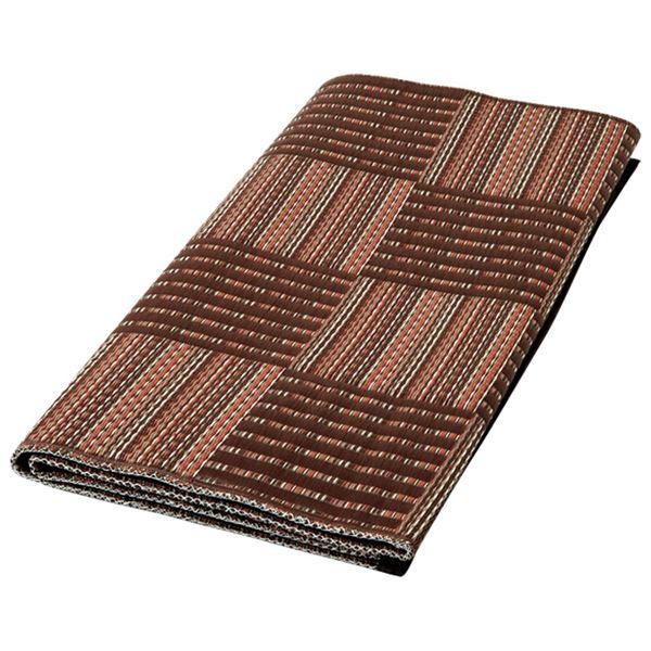 い草風 ラグマット/絨毯 【ブラウン 本間8畳 382cm×382cm】 日本製 ポリプロピレン製 〔リビング〕