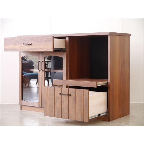 木目調キッチンカウンター/キッチン収納 【幅120cm】 引き出し収納 扉付き スライド棚 『MONTシリーズ』【代引不可】