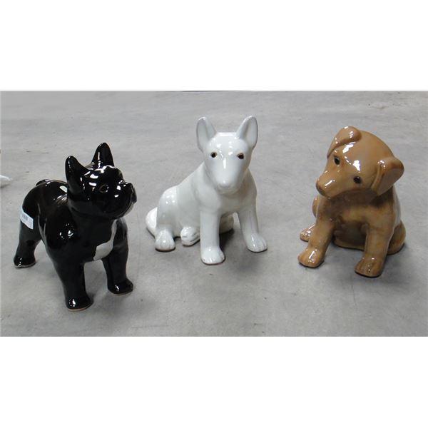 【NEW限定品】 3点×1セット 陶製ガーデンオーナメント 園芸用品 犬タイプ 長さ33cm イタリア製 ほのぼのわんこ ストローファーム, お宝ワールド 70838cc2