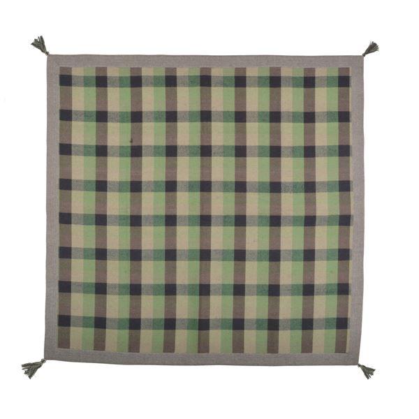 モダン ラグマット/絨毯 【185cm×185cm グリーン】 正方形 軽量 インド綿 ウール混 『メルモ』 〔リビング ダイニング〕【代引不可】