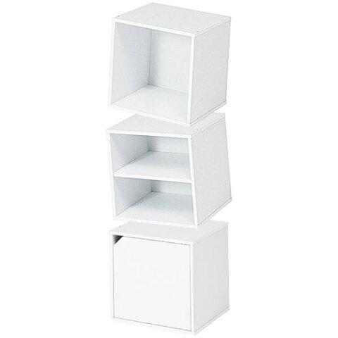 モダン キューブボックス型収納/収納棚 【同色3個組 ホワイト】 約34.5cm 〔リビング ダイニング ベッドルーム 寝室〕