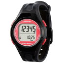 腕時計型 万歩計/歩数計 【ブラック×レッド TM450-BKR】 電波時計内蔵 生活防水 『DEMPA MANPO』 〔運動用品〕【代引不可】