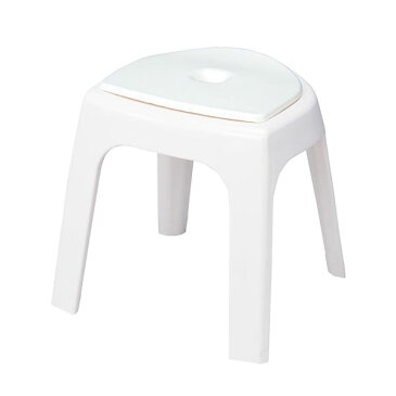 クッションマット付き 風呂椅子/バスチェア 【高さ35cm】 抗菌加工 脚部すべり止め付き ホワイト 『フロート』