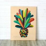 パイナップル モチーフ カラフル キャンバス ウォール デコレーション インテリア