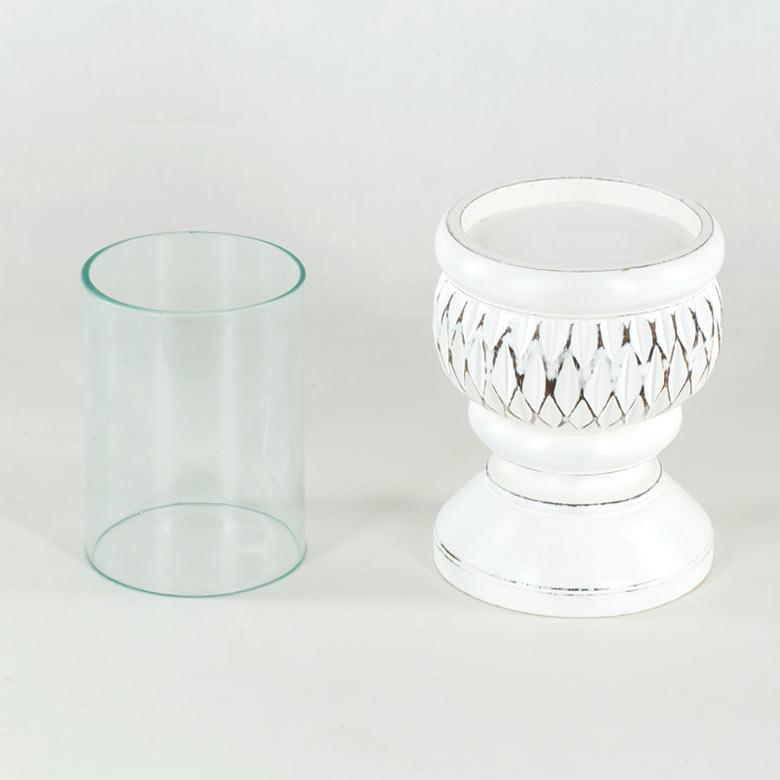 ELEMENTS『ガラスとウッドの筒形のキャンドルホルダー』