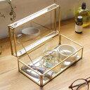ガラスと真鍮でできた ストッパー付き 収納ケース(63240...