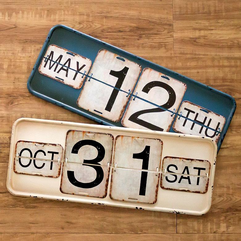 ヴィンテージ風日めくりカレンダー(65250)サインプレートアンティーク調ブリキ看板万年カレンダーガレージカレンダースタンドカレンダーサインボードTINプレート西海岸男前ブルックリン店舗用オブジェ看板レトロ