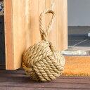ジュートロープの ドアストッパー (65311)【 ドアストッパー 重り おもり 重し 重石 置くだけ ドア止め 扉止め 戸当たり ドア固定 おしゃれ ロープ ボール かんたん かわいい おもしろ 動かない 玄関 持ち手付き 】