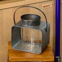 ランタン ブリキ ガラス製 スクエア Lサイズ ハンドル付き [920...