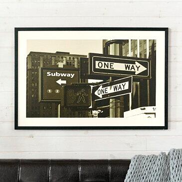 アートパネル モノクロ 風景 サブウェイ標識 フレーム付き 幅90cm [91271]【 アートフレーム ポスター 壁掛け 絵画 白黒写真 アートボード インテリア おしゃれ 西海岸 】