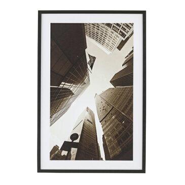 アートパネル モノクロ 風景 ビル フレーム付き 幅60cm [91272]【 アートフレーム ポスター 壁掛け 絵画 白黒写真 アートボード インテリア おしゃれ 西海岸 】