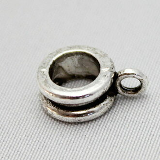 有罐子的銀古美圓柱形墊片[縱向12mm×旁邊8.2mm×寬4.2mm]sgy-919_20p(配飾零件項鏈零件環型手傭人材料素材金屬零件古董銀子銀銀子裝飾)