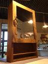 洗面収納棚・鏡+下部オープン収納☆ウォルナット色☆ミラーキャビネット
