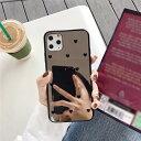 iPhone 11 Pro 背面ケース ケース カバー ラブ ハート ミラー 鏡 光沢 キラキラ 耐衝撃 グリッター ソフト シリコン バンパー 可愛い