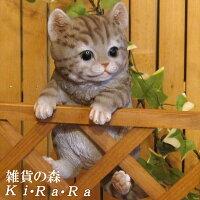猫置物リアルねこネコキャットリアルな猫の置物ぶらさがりベビーキャットグレー動物オブジェガーデンオーナメント装飾フィギュアモチーフインテリア玄関先庭雑貨