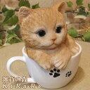 猫 置物 リアル ねこ ネコ キャット リアルな猫の置物 ティーカップ...