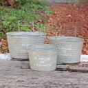 「プランシュハングポット3サイズセットOVAL」 ガーデン ガーデニング 庭 菜園 インテリア ティン ブリキ ハンギング ぶら下げ アンティーク 植物 寄せ植え