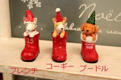 赤い長ぐつとワンちゃんのコンビ!クリスマス サンタクロース クリスマスブーツドッグ フレ...