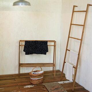 ラダーラック☆☆チークラダーハンガー/木製/北欧/タオルハンガー/タオル掛け/部屋干し/AXCIS/アクシス