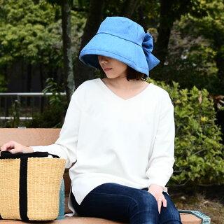 女優帽【ネコポスで送料無料】帽子レディースuv折りたたみつば広リボンデニムUV女優帽
