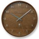 レムノス Lemnos 掛け時計 電波時計 ブラウニー BROWNIE Lサイズ 305mm ステップムーブメント おしゃれ 北欧 木製 電波 壁掛け 壁掛け時計 ブラウン 掛時計 時計