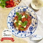 【3枚set】ロイヤルフラワーオーバルディッシュ21.5cmパスタ皿カレー皿盛皿洋食器メインプレートお花おしゃれ華やか上品軽い日本製美濃焼