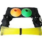 【送料無料】トレーニングラダー(7m、プレート13枚、黄色&青色)+マーカーコーン20枚セット【収納袋付き】/足が速くなるラダートレーニング器具7メートル用/サッカーフットサル野球バスケの瞬発力練習におすすめラダー(イエロー&ブルー)