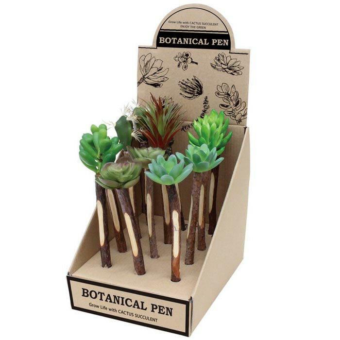 ボールペン かわいい 造花 観葉植物 イミテーション 植物 BOTANICAL PEN CACTUS 6型アソート12本入り