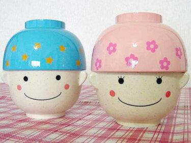 茶碗とお椀の可愛い食器セットブルーのぼくとピンクのお嬢ちゃんのまんぷくセット