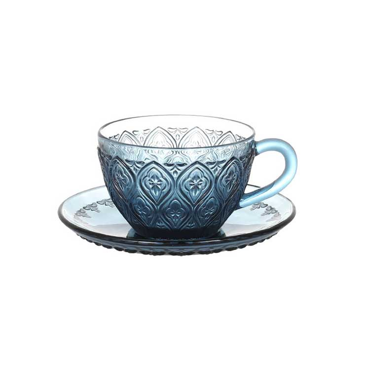 GLASS CUP & SAUCER ''FIORE'' BLUE ダルトン カップ&ソーサー ガラス マグカップ ガラスマグ アンティーク