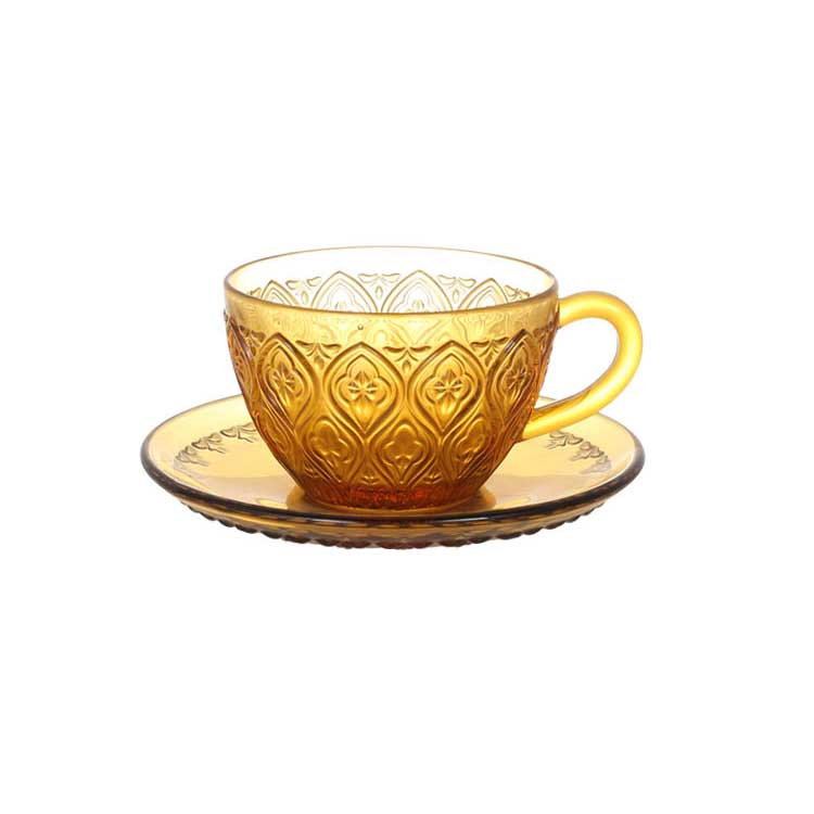 GLASS CUP & SAUCER ''FIORE'' AMBER ダルトン カップ&ソーサー ガラス マグカップ ガラスマグ アンティーク
