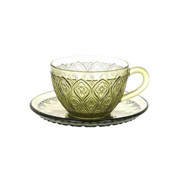 GLASS CUP & SAUCER ''FIORE'' GREEN ダルトン カップ&ソーサー ガラス マグカップ ガラスマグ アンティーク
