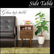 送料無料天然木を使用した天板ガラス仕様のお洒落なサイドテーブルナイトテーブルガラストップテーブル机コーヒーテーブルST-300