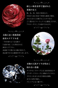 ネックレスレディースオープンハート(ラブハート)ダイヤ誕生石ダイヤモンドプリザーブドフラワーバラローズ薔薇ボックス付誕生日プレゼント