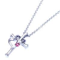テディベアぬいぐるみ付ネックレスレディースクロスハート(十字架)ダイヤ誕生石誕生日プレゼント女性送料無料