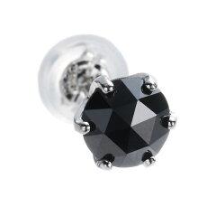 漆黒のブラックダイヤをアンティーク調に仕上げた、大人の上質ピアス。プラチナ900×大粒0.5カ...
