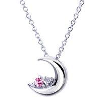 ネックレス天然ダイヤモンド12誕生石クレッセントムーン月モチーフシルバー925レディースネックレスプラチナPtコーティング
