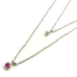 7月誕生石ルビー× 天然ダイヤ!2連チャーム プチネックレス☆送料無料  さり気なく、美しくがテーマなプチサイズの2連チャームネックレス!